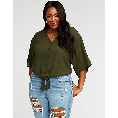 Plus Size Tie Front Button Up Top