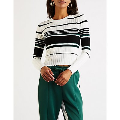 Striped Ribbed Pullover Sweater