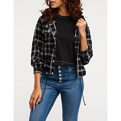 Hooded Plaid Bomber Top