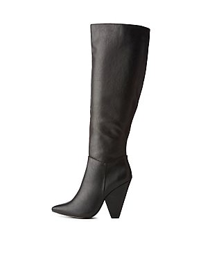 Faux Leather Pointed Toe Boots