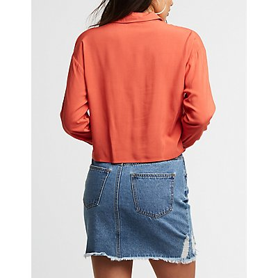 Cropped Button Up Top