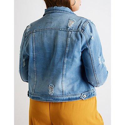 Plus Size Destroyed Denim Jacket