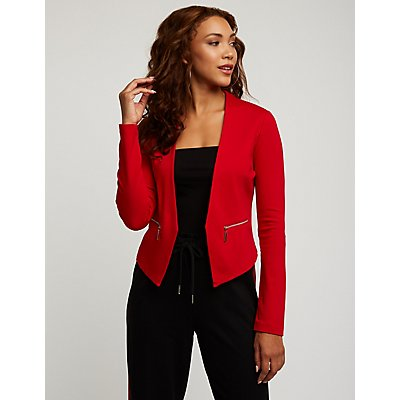 Ponte Collarless Crop Blazer