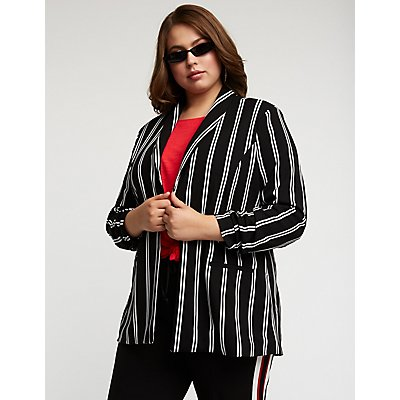 Plus Size Striped Open Front Blazer