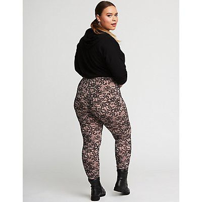 Plus Size Floral Lace Leggings