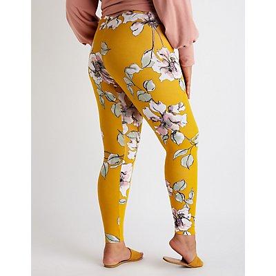 Plus Size Floral High Waist Leggings