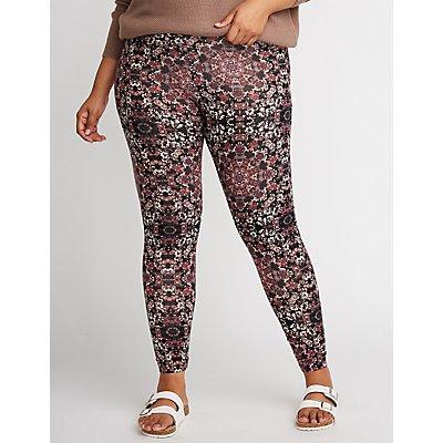 Plus Size Printed High Waist Leggings