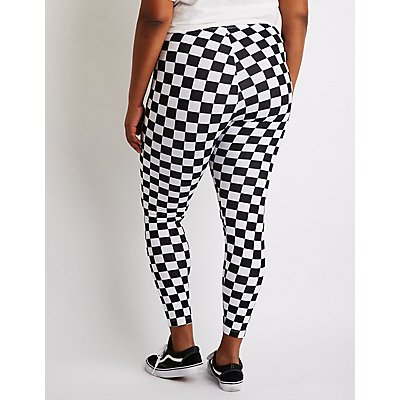 Plus Size Checkered Leggings