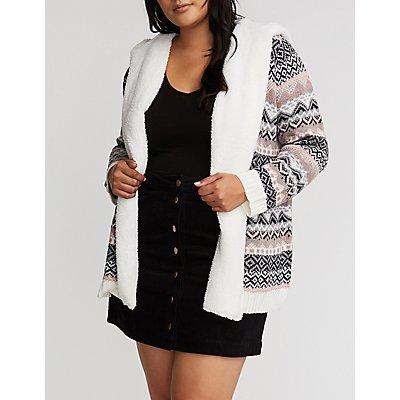 Plus Size Jacquard Sherpa Trim Cardigan