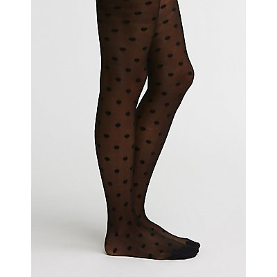 Polka Dot Mesh Tights