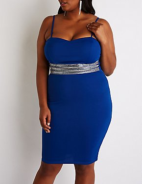 Plus Size Embellished Waist Bodycon Dress