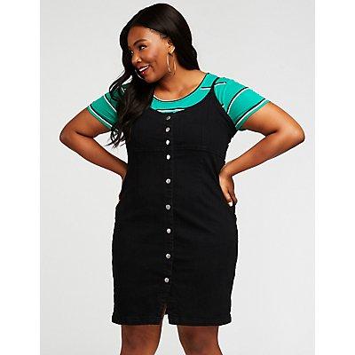 Plus Size Denim Button Up Dress