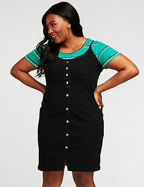 Plus Size Denim Button Up Dress