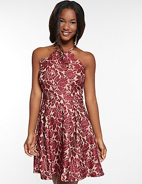 Lace Scalloped Bib Skater Dress