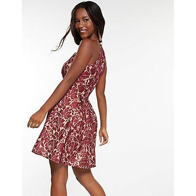 Lace Scalloped Bib Skater Dress