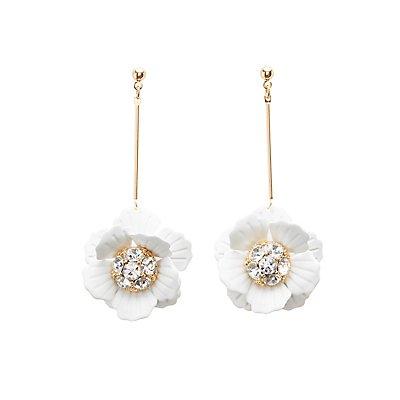 Floral Crystal Drop Earrings