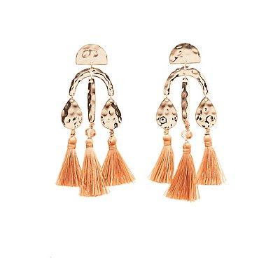 Hammered Metal & Tassel Drop Earrings