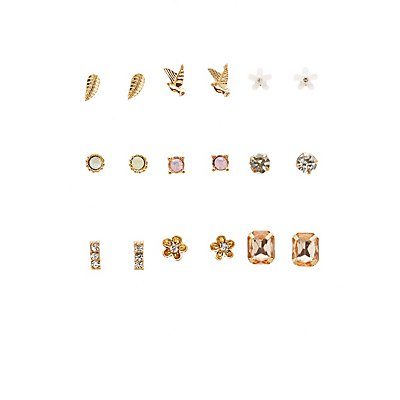 Embellished Stud Earrings - 9 Pack