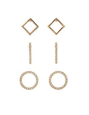 Geometric Crystal Stud Earrings - 3 Pack