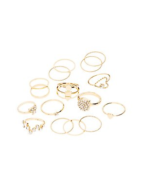 Crystal & Textured Stackable Rings - 16 Pack