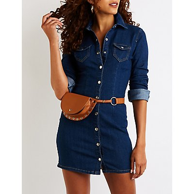 Denim Snap Front Shirt Dress