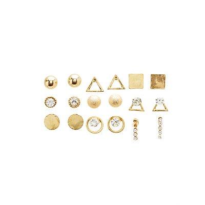Crystal Textured Stud Earrings - 9 Pack