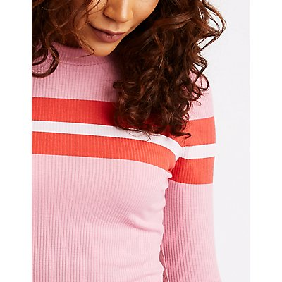 Colorblock Mock Neck Ribbed Top