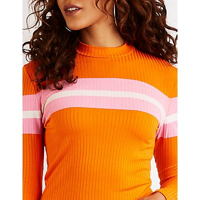 Ribbed Colorblock Mock Neck Top