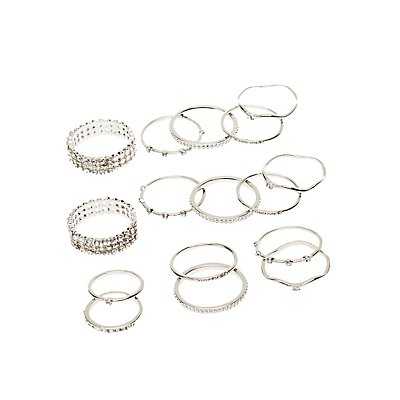 Crystal Textured Stacking Rings - 16 Pack