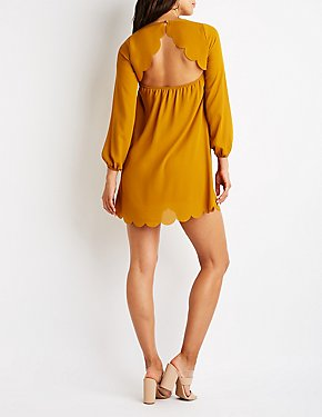 Scalloped Open Back Shift Dress