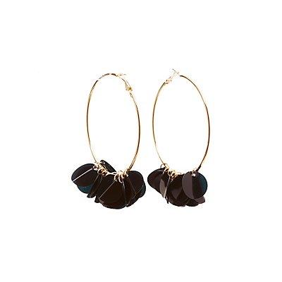 Sequin Cluster Hoop Earrings