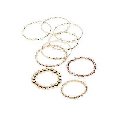 Beaded & Textured Bracelets - 9 Pack