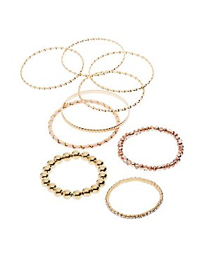 Beaded & Textured Bracelets - 9 Pack