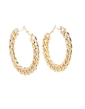Metal Chain Hoop Earrings