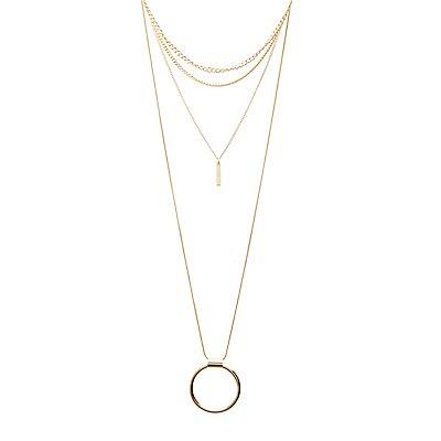 Geometric Pendant Layering Necklace