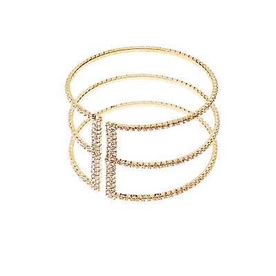 Crystal Caged Cuff Bracelet