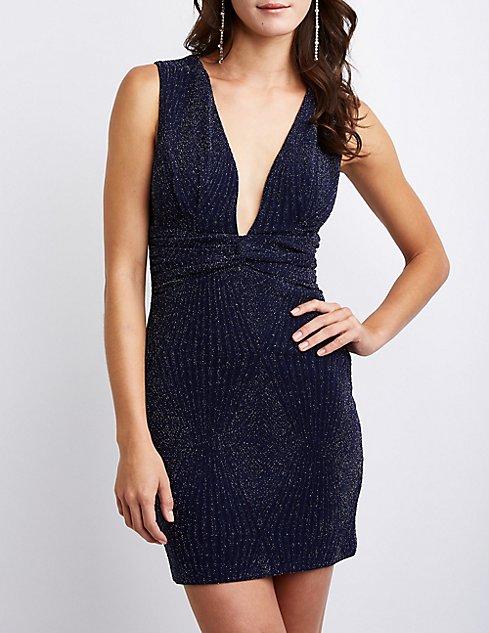 Glitter V Neck Bodycon Dress  d7d260f763d2