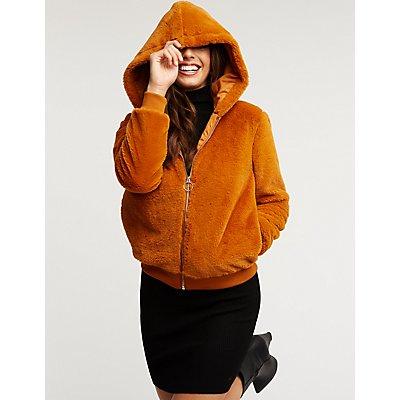 Faux Fur Zip Up Jacket