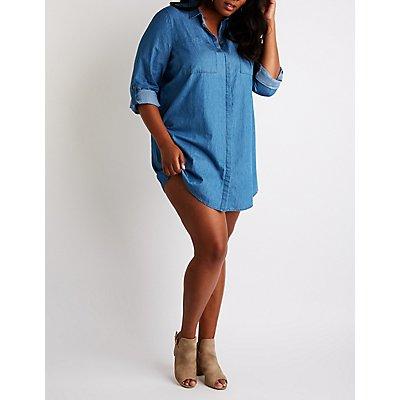 Plus Size Chambray Button Up Shirt Dress