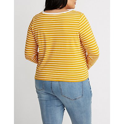 Plus Size Striped Front Tie Top