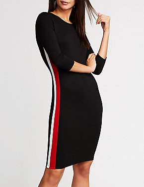 Varsity Striped Side Bodycon Dress