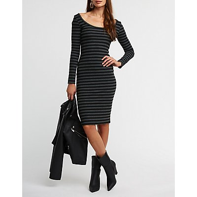 Striped Ribbed Knit Bodycon Dress