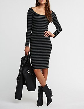 Striped Ribbed Knit Bodycon Dress