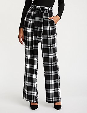 Plaid Tie Front Palazzo Pants