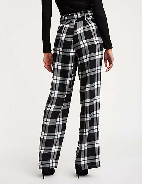 Plaid Tie Front Palazzo Pants | Charlotte Russe