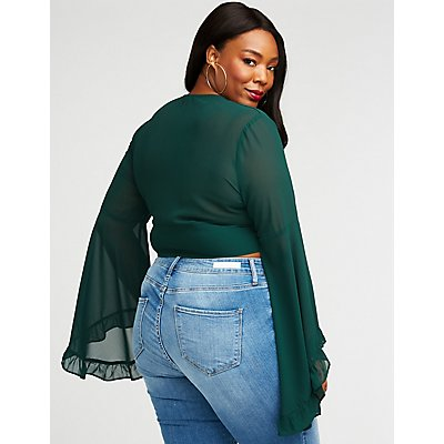 Plus Size Button Up Crop Top