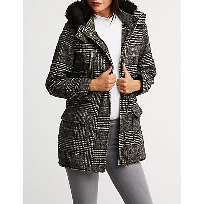 Longline Fur Trim Hooded Jacket