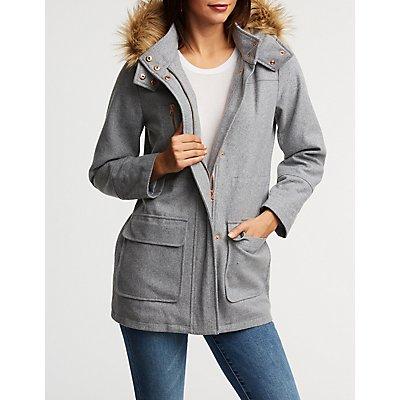 Longline Fur Trim Hooded Jacket