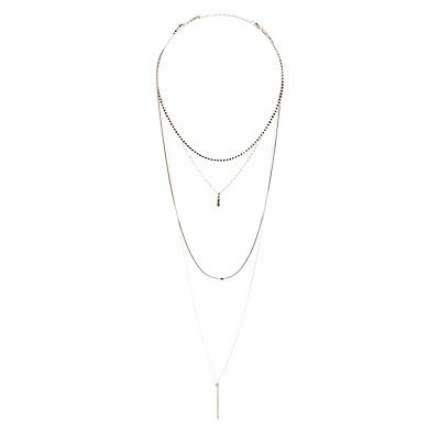 Geometric Pendant Layering Necklace