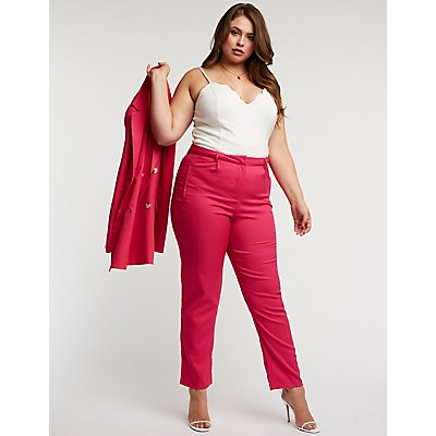 Plus Size Slim Leg Trousers